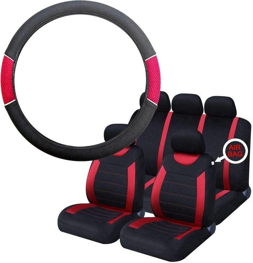 UKB4C Red /& Black Steering Wheel /& Seat Cover set for Vauxhall Corsa Hatchback