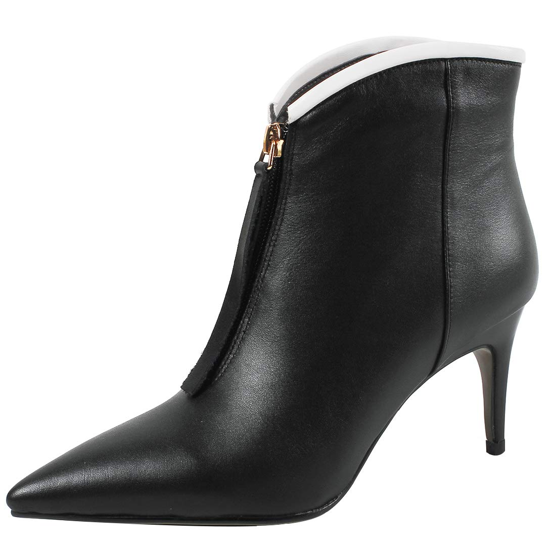 Black Eithy Women's Shaim Stiletto Ankle-high Zipper Leather Boots