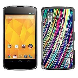 TopCaseStore / la caja del caucho duro de la cubierta de protección de la piel - Vibrant Art Lines Colorful - LG Google Nexus 4 E960