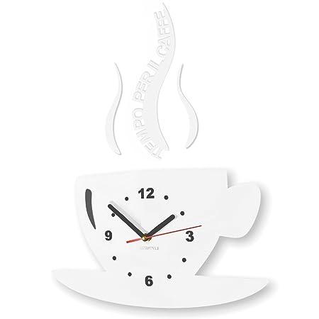 FLEXISTYLE Orologio da Parete da Cucina Tazza LA TAZZINA Tempo per Il caffè  Nera Silenzioso Moderno per Bar 3 d Decorativo (Bianco)
