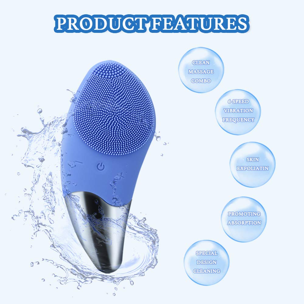Sonic Facial Cleansing Brush,Silicone Face Brush, Waterproof Electric Face Cleanser and Massager Brush for All Skin Exfoliation, Deep Cleansing, Anti Aging,USB Rechargeable Blue