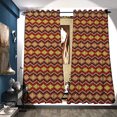 (BlountDecor Window Curtain Fabric Knitting Themed Graphic Pattern with Zigzag Ornamental Chains and Warm Hues Customized Curtains W120 x L96 Multicolor)