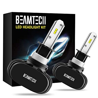 BEAMTECH H1 LED Headlight Bulb,CSP Chips 50W 8000 Lumens 6500K Xenon White Extremely Bright Conversion Kit of 2: Automotive