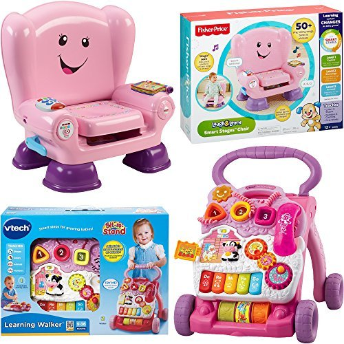 VTech Sit-to-Stand Learning Walker and Fisher Price Laugh & Learn Smart Stages Chair, Kids Electronic Educational Musical Learning Toys for Toddlers, 2-Piece Bundle