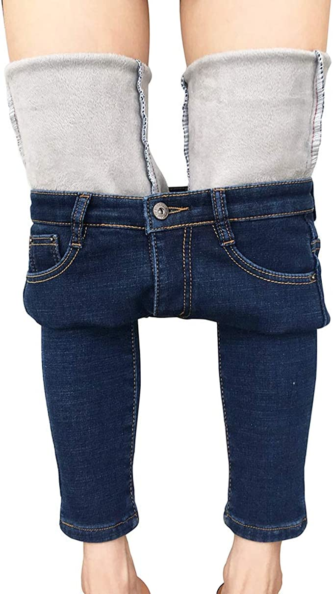 Heipeiwa Womens Winter Jeans Thick Skinny Pants Fleece Lined Slim Stretch Warm Jeggings At Amazon Women S Jeans Store