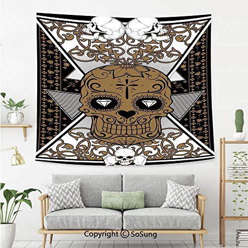 SoSung Tattoo Decor Wall Tapestry,Wise Old and Brave Viking Warrior with his Long White Beard and Armour,Bedroom Living Room Dorm Wall Hanging,92X70 Inches,White and -