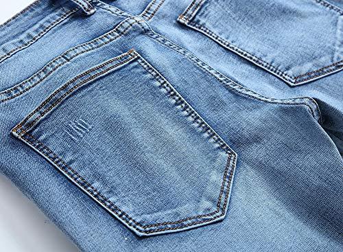 Alta Heterosexual Versaces Imprimir Hombres Ocio Agujero Ajustado Jeans Elasticidad Media Pantalones Corte blue Cintura qAzATn4xw
