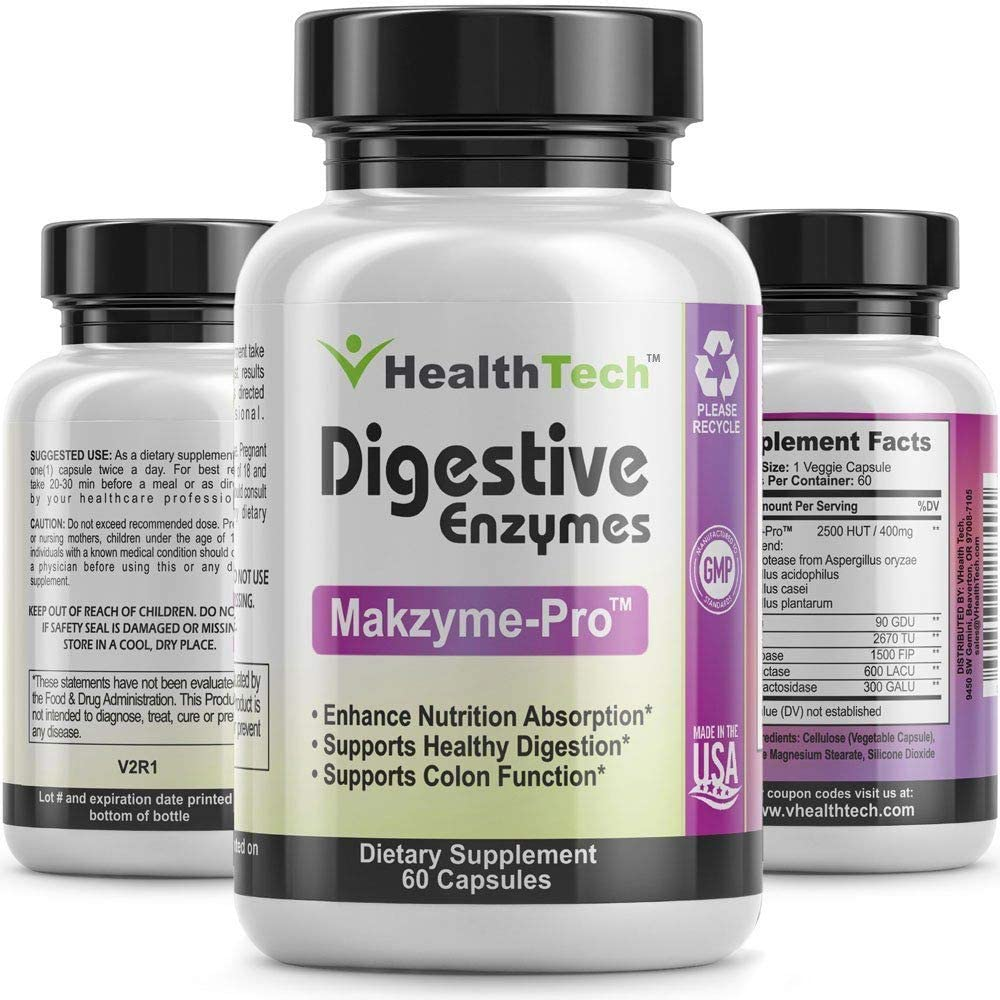 Digestive Enzymes with Probiotics - Lipase, Bromelain, Papain, Protease, Lactase & More - for Men and Women with Digestion Problems - Plant Based - 60 Vegetarian Capsules - V-HealthTech