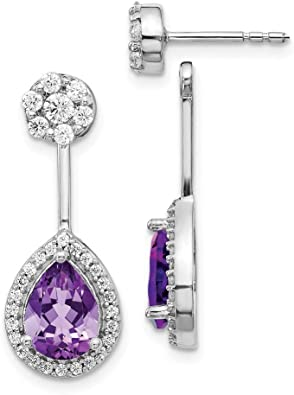 White gold finish pear cut amethyst and created diamond droplet earrings