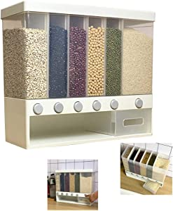 Wall-Mounted Dry Food Dispenser 6-Grid Cereal Dispensers Food Storage Container Kitchen Storage Tank for Cereal, Rice, Nuts, Candy, Coffee Bean, Snack, Grain