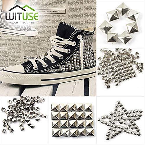 - Garment Rivet - 100 500 1000 pcs 9.5mm Silver Cone Studs and Spikes Screwback DIY Craft Cool Punk Garment Rivets for Clothes Bag Shoes Leather - (Color: 100pcs Bag)