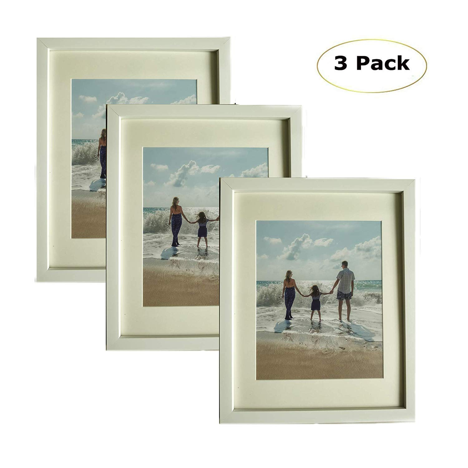 3 Pack, 8 x 10 White Picture Photo Frames - Made to Display Pictures Photo 8 x 10 without Mat or 6 x 8 With Mat Wall & Tabletop Frames
