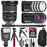 Canon EF-S 10-22mm USM Lens + Flash + UV-CPL-FLD Filters + Macro Filter Kit + 72'' Photo/Video Monopod + Table-Top-Tripod + 32GB Class 10 Memory Card + Backpack - International Version