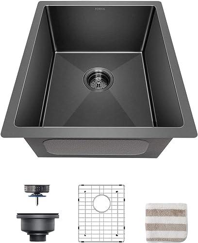 Torva 17-Inch Gunmetal Black Nano Undermount Kitchen Sink, 16 Gauge Stainless Steel Single Bowl – 17 x 19 x 9 Inch Deep Bar Prep Basin