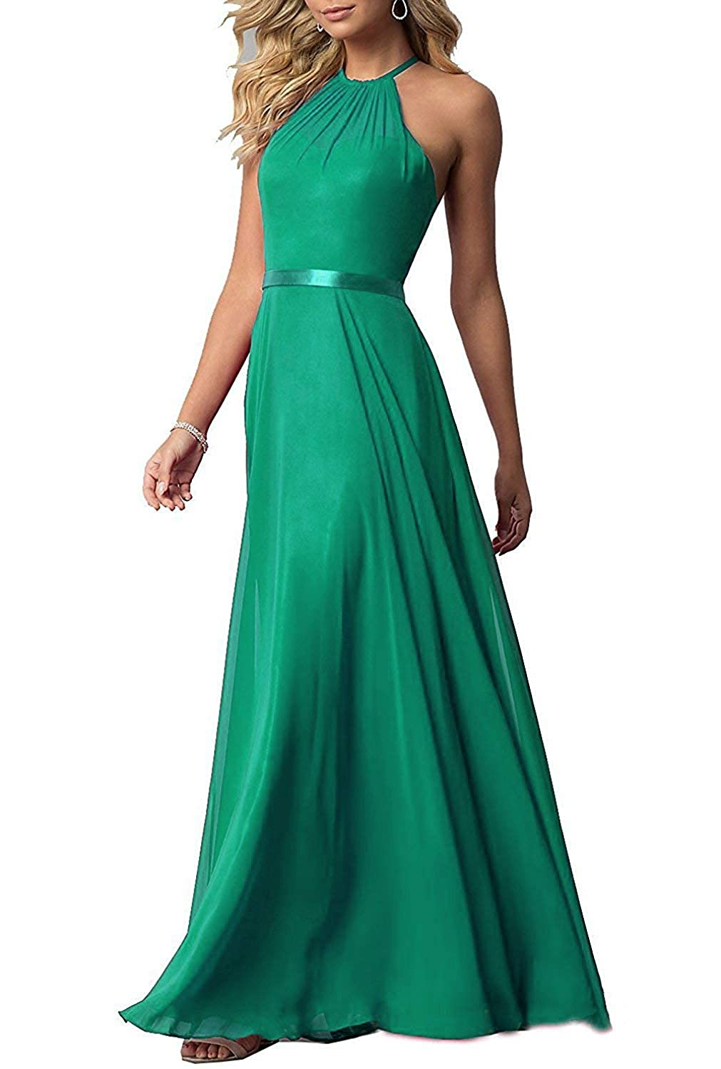 Green ROMOO Sexy Halter Long Bridesmaid Dresses Open Back Aline Formal Evening Party Gowns