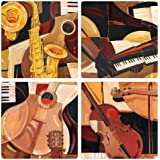 """CoasterStone AS1770""""Paul Brent-Abstract Instruments Collection"""" Absorbent Coasters, 4-1/4-Inch, Set of 4"""
