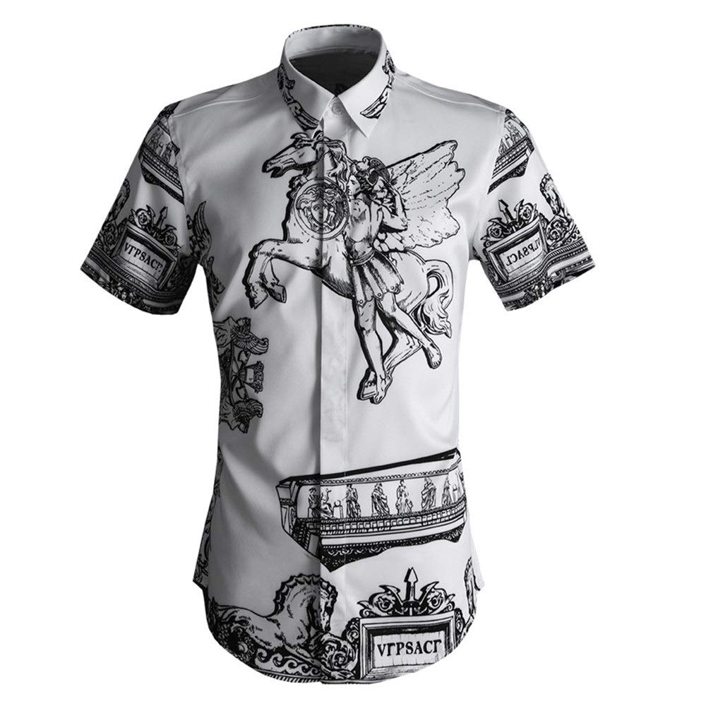 Blanc 3XL Chemise d'été pour hommes Chemise à hommeches courtes pour hommes imprimée en 3D à col ouvert et à col boutonné Chemise de ville coupe ajustée Chemise en coton de coupe Chemise de travail d&e
