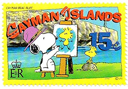 Cayman Islands Postage Stamp Single 2002 Snoopy Painting Woodstock At Brac Bluff Issue 15 Cent