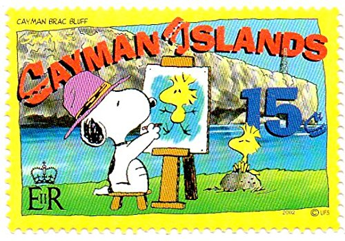 7 Cayman Islands Postage Stamp Single 2002 Snoopy Painting Woodstock At Brac Bluff Issue 15 Cent