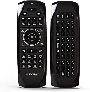 AuviPal G10 Backlit 2.4GHz Wireless Air Mouse Remote with Shortcut Keys, QWERTY Keyboard and Build-in Rechargeable Battery for Windows 10 PC Laptop Tablet Win10 Mini PC Stick HTPC