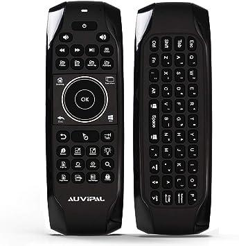 AuviPal G10 - Mando a distancia inalámbrico de 2,4 GHz con teclas de acceso directo, teclado QWERTY y batería recargable integrada para Windows 10 PC, ...