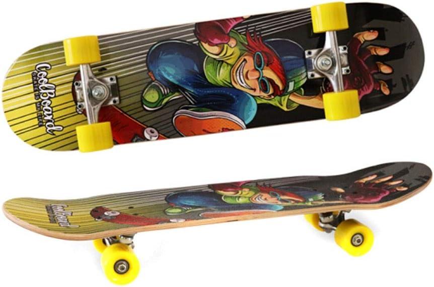 スケートボード、四輪プロロングボードスケートボード、初心者、ティーンエイジャー、男性と女性に適し、さまざまなシーンに適応、さまざまなスタイル Multicolor 79*20*13cm