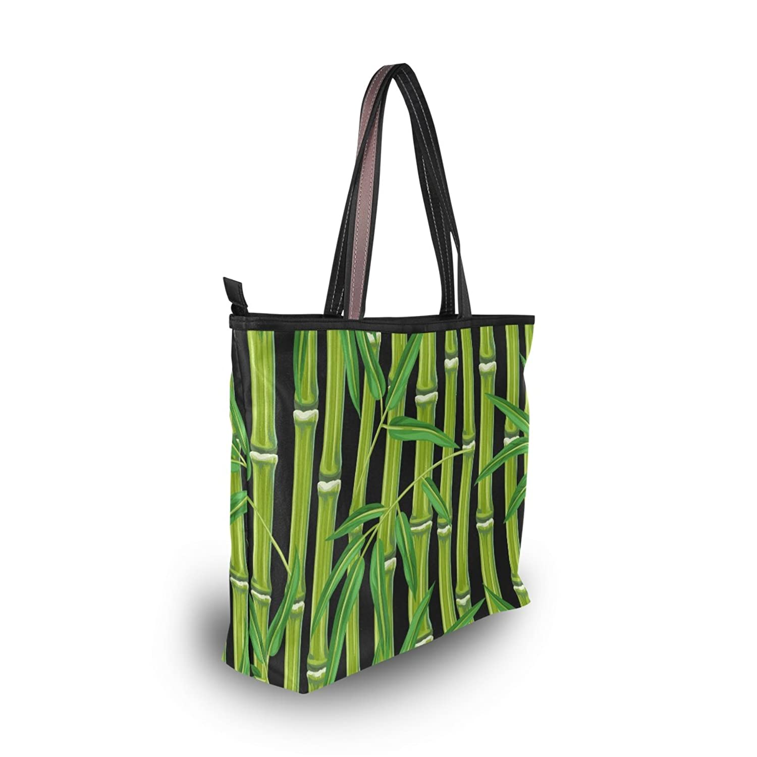 Senya Women's Handbag Microfiber Large Tote Shoulder Bag, Bamboo Pattern