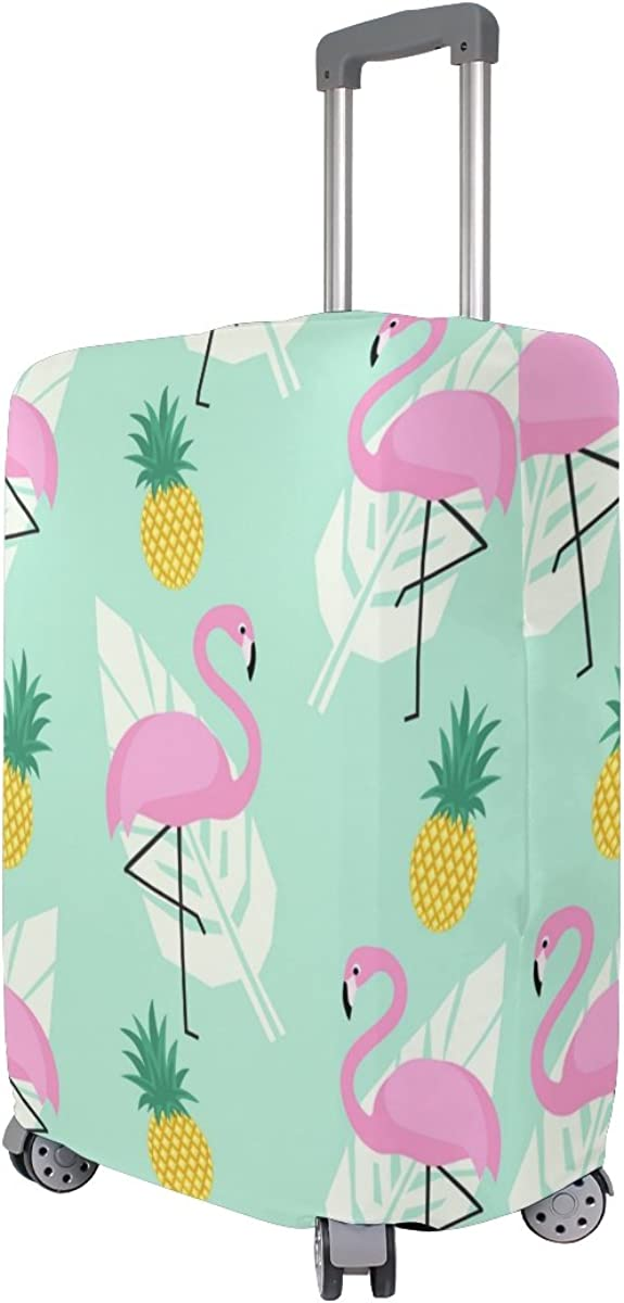 Elastic Travel Luggage Cover Pink Flamingoes Pineapples And Palm Leaves Suitcase Protector for 18-20 Inch Luggage