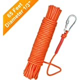 UTOMAG Magnet Fishing Nylon Rope with Carabiner, 65 Feet All Purpose High Strength Cord Safety Braid Rope – Good for…