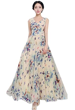 Easy Summer Chiffon Butterfly Boho Long prom party formal maxi dress Slim  Fit at Amazon Women s Clothing store  450690a7dd