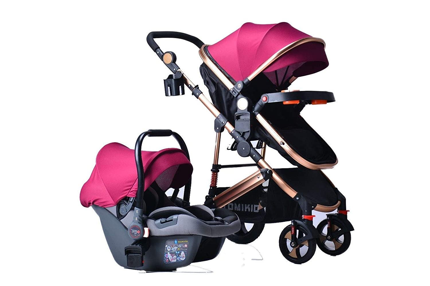 3 in 1 Combi Stroller Buggy Baby Child Pushchair Free Car Seat Reverse or Forward Facing Rain Cover Mosquito Net Bottle Holder Foldable FootMuff with Free Car Seat (Black with car Seat) Tomi