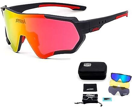 TOPTETN Gafas de Sol Deportivas polarizadas Protección UV400 Gafas de Ciclismo con 3 Lentes Intercambiables para Ciclismo, béisbol, Pesca, esquí, Funcionamiento (Negro): Amazon.es: Deportes y aire libre