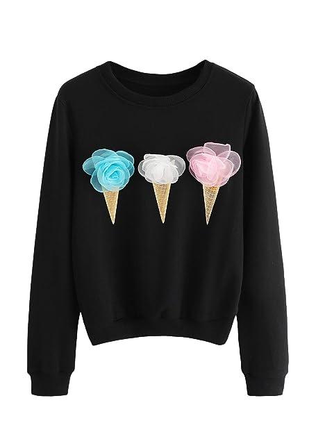 WDIRARA Women s Casual Long Sleeve Graphic Print Pullover Sweatshirt Tops  at Amazon Women s Clothing store  b917d88fd