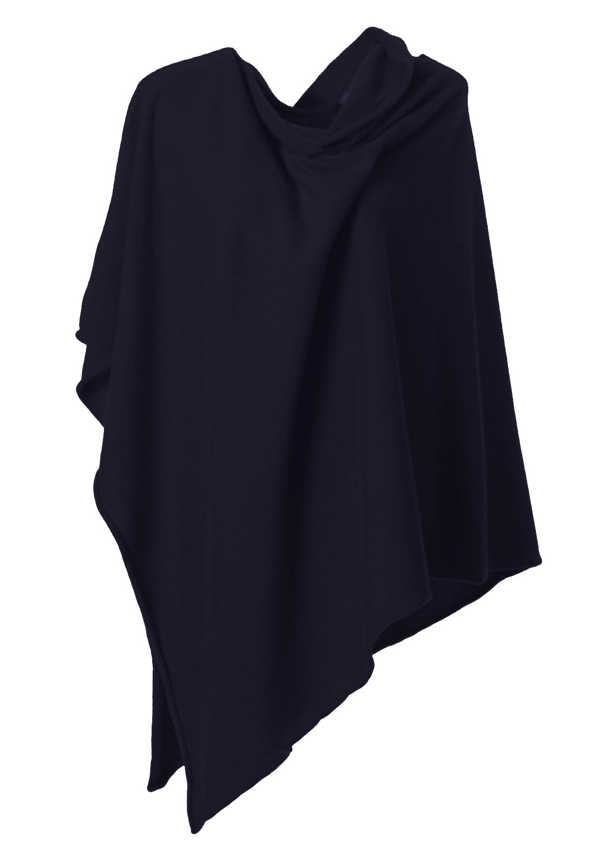 Anna Kristine Asymmetrical 100% Cashmere Draped Poncho Topper - Midnight Black