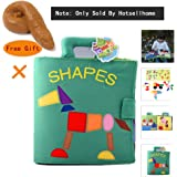 Hotsellhome Cloth Book, Soft Fabric Activity Crinkle Cloth Books, Handmade Puzzle Shape Matching Learning Educational Toys for Baby, 1 Year Old, Interactive Baby Toddler Shower Gifts Boy Girl