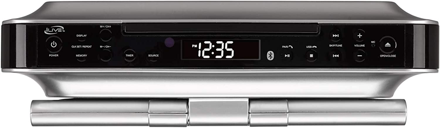 Silver ,BLACK IKTD1037S iLive Under Cabinet Bluetooth Wireless CD//DVD//FM Radio Player