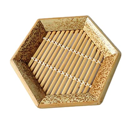 Amazon.com: Hexagon - Cesta de bambú natural tejida a mano ...