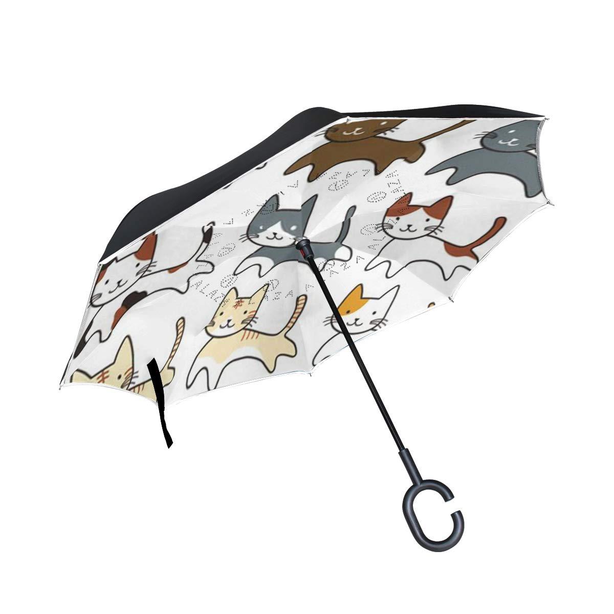 逆さ傘 かわいいパンダ 逆さ傘 UV保護 防風 車 雨 日光 アウトドア ブラック One Size 写真3 B07KF37DD4