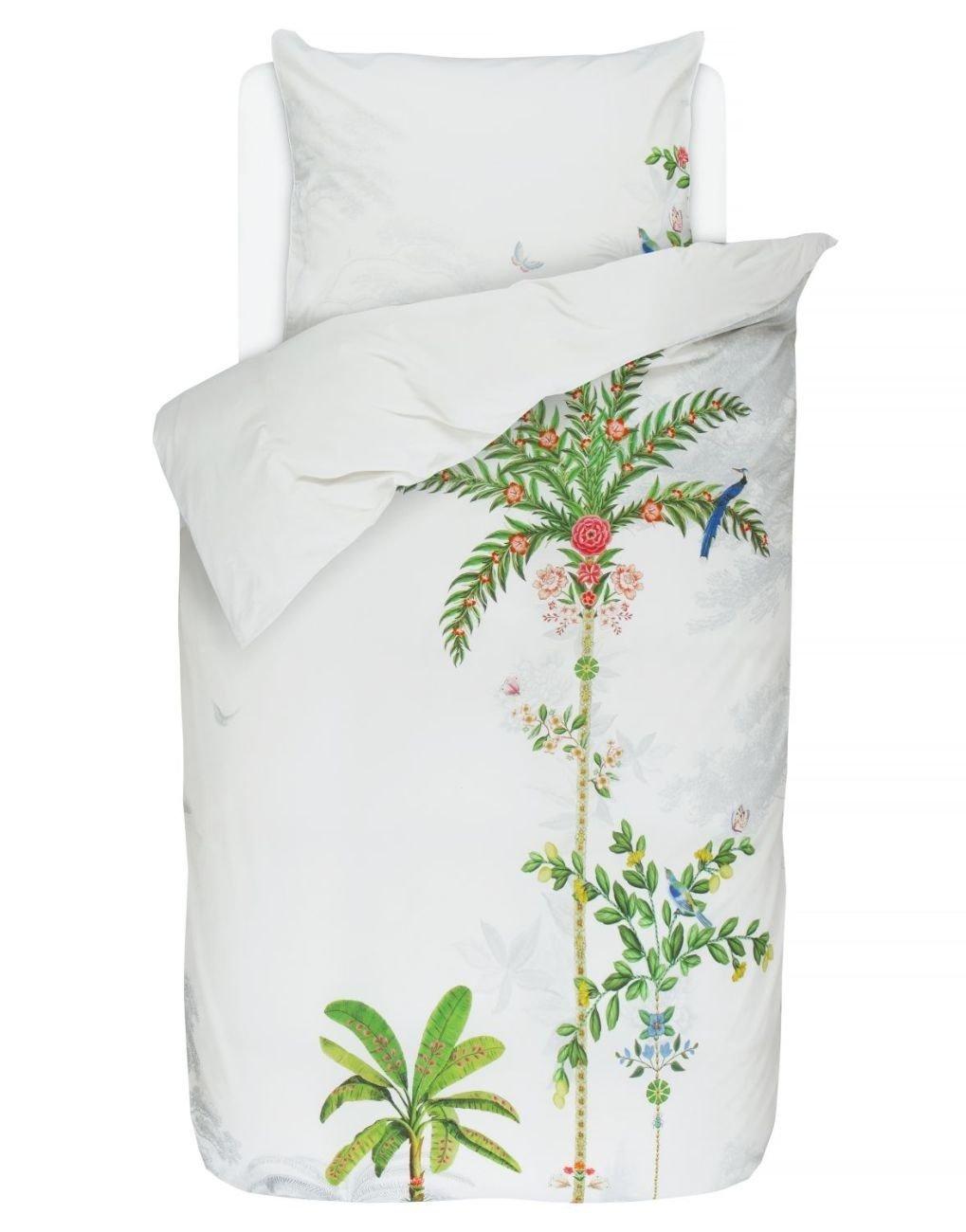 PiP Studio Bettwäsche Indian Palms Weiß Palme Vögel Perkal 135x200 cm 80x80