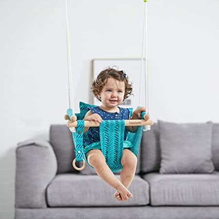 Baby Canvas Hanging Swing w// Cotton Home Outdoor Hammock Toy Toddler Blue