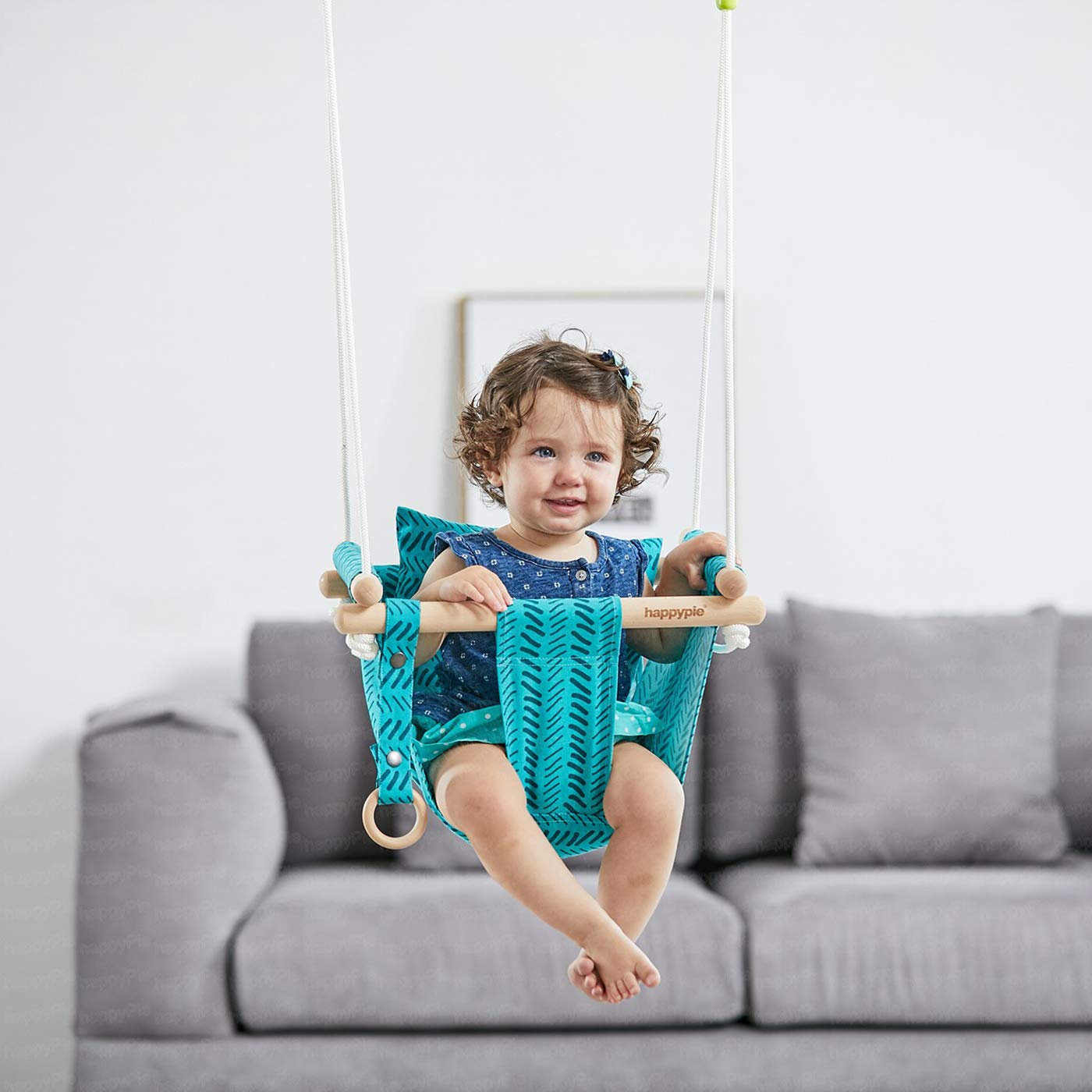 HAPPY PIE PLAY/&ADVENTURE Secure Canvas Hanging Swing Seat Indoor Outdoor Hammock Toy for Toddler Bright Green