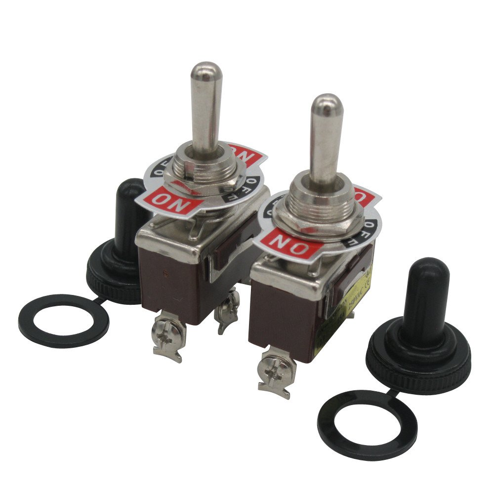TWTADE / 2pcs Momentary Switch Toggle Rocker Heavy Duty 20A 125V SPDT 3 Position 3 Terminal (ON)-Off-(ON) Toggle Switches + 2pcs Waterproof Cap (Quality Assurance for 2 Years) ten-123