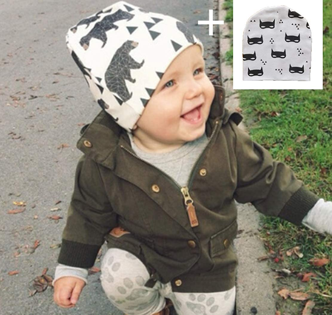 ba175621 RichBoo Earflap Beanie Baby with Pom Fleece Lining Toddler Winter Snow Hat  Infant Girl Grey S