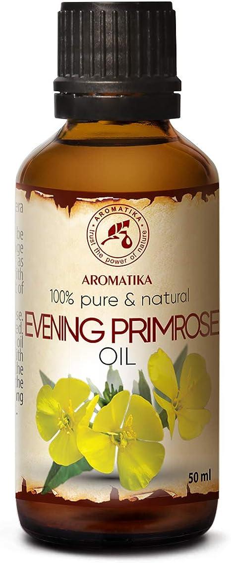 Aceite de Onagra Vespertina 50ml - Oenothera Biennis - Evening Primrose Oil - Botella de Vidrio - Prensado en Frío y Refinado - Aceite Onagra Vespertina Para Rostro - Cuerpo - Cabello -