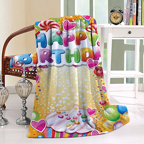 HAIXIA Throw Blanker Birthday Vivid Colored Framework with Many Balloons Cupcake Cherry and Hearts Multicolor
