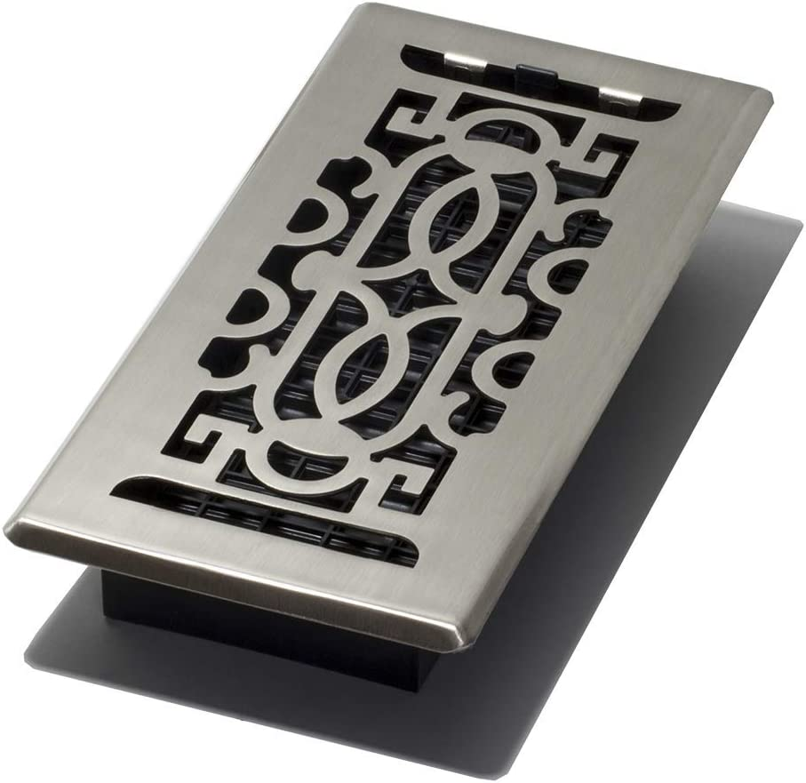 Decor Grates PEH410-NKL Persian Plated Floor Register, 4-Inch by 10-Inch, Nickel