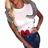 MEIbax Impresión de Labios de pestañas Rojas Camiseta de Mujer Moda Top de Manga Corta con Volantes para Mujer Ropa de…
