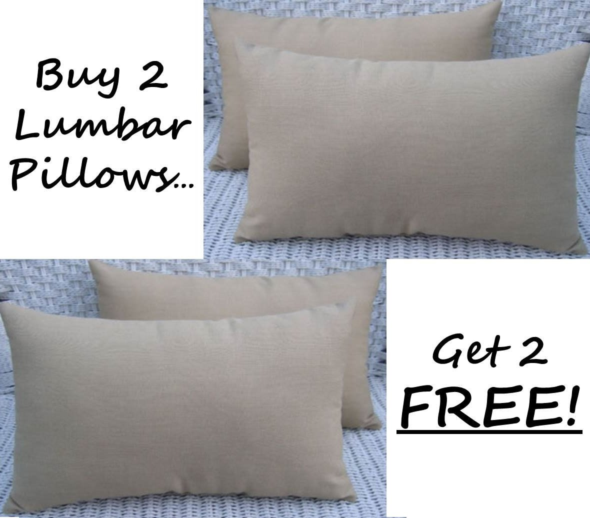 Set of 2 - Indoor / Outdoor Decorative Lumbar / Rectangle Pillows + 2 Free - Solid Tan
