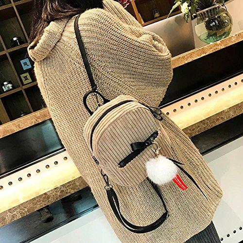 Korean Prosperveil Backpacks Shoulder Women Stripes Small Corduroy Bag School Mini Camel Pack aqdqr7wxfZ