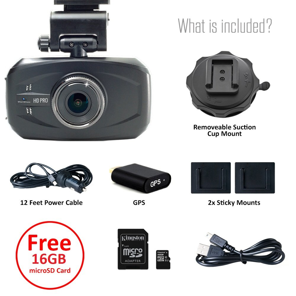 WheelWitness HD PRO Dash Cam with GPS - 2K Super HD - 170° Lens - 16GB microSD - Advanced Driver Assistance - For 12V Cars & Trucks - Night Vision Dashboard Camera Ambarella A7LA50 Car Security DVR by WheelWitness (Image #5)